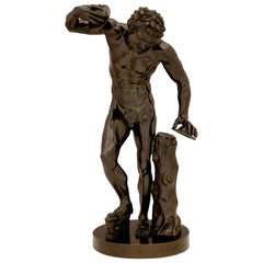 Continental 19th Century Patinated Bronze Statue of a Dancing Faun with Cymbals