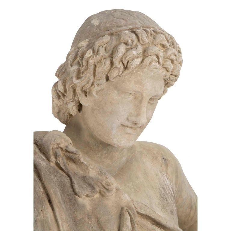 Unknown Continental 19th Century Plaster Statue of a Young Hunter For Sale