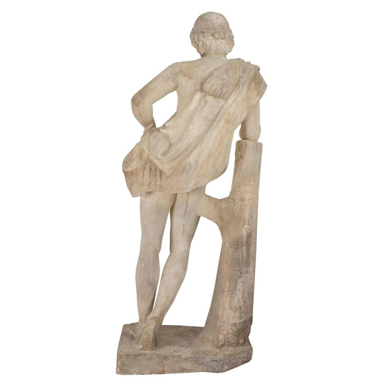 Continental 19th Century Plaster Statue of a Young Hunter In Good Condition For Sale In West Palm Beach, FL