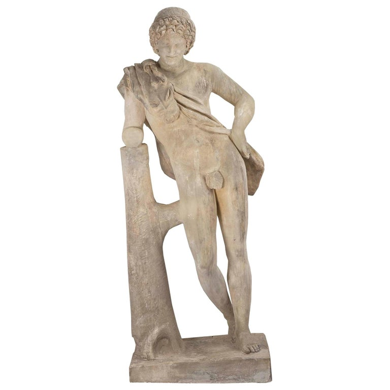 Continental 19th Century Plaster Statue of a Young Hunter For Sale