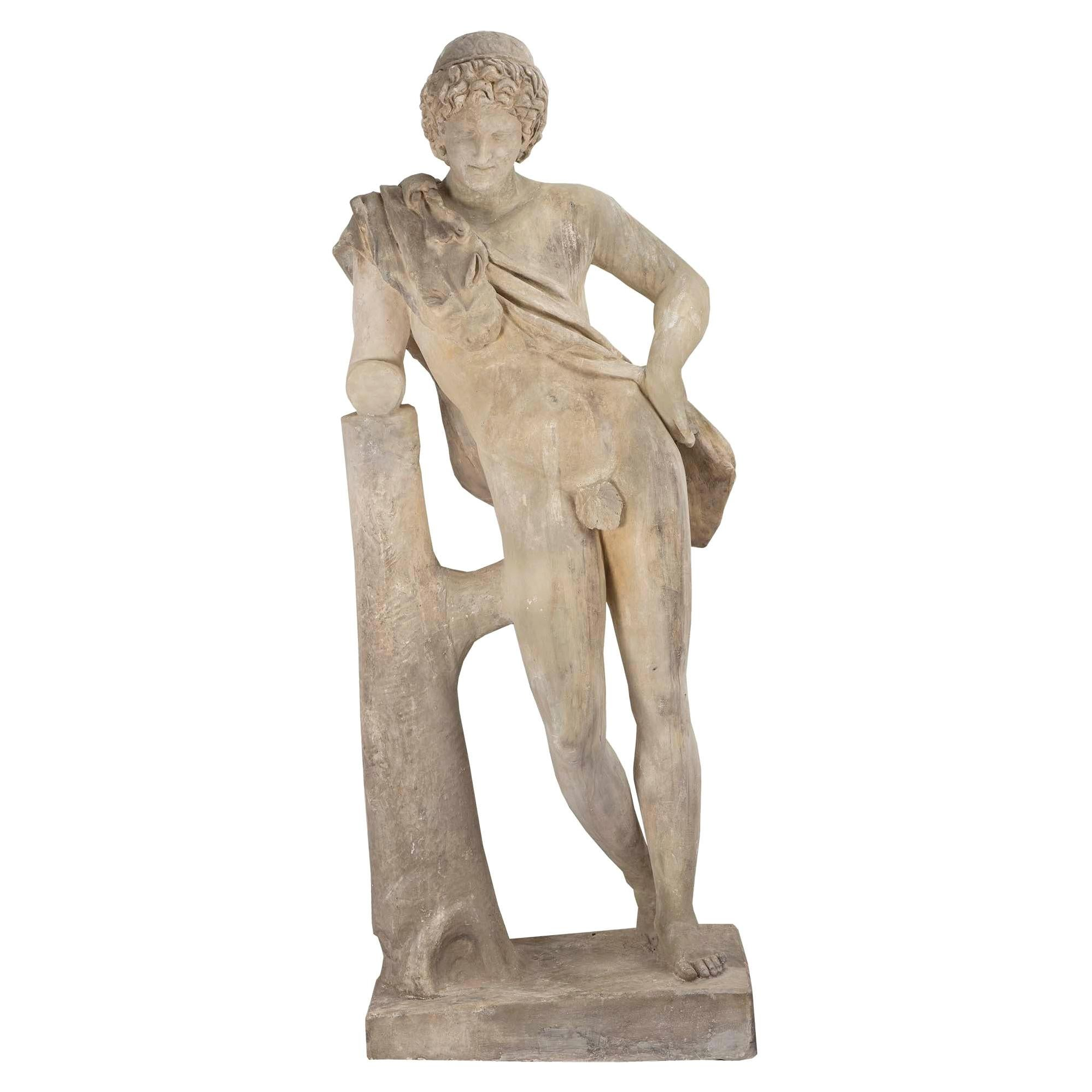 Continental 19th Century Plaster Statue of a Young Hunter