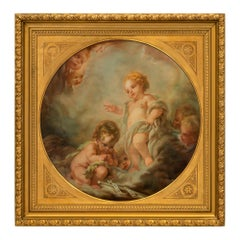 Continental 19th Century Signed Pastel within a Giltwood Frame