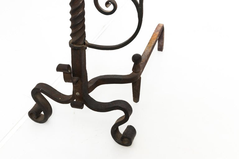 Iron Continental Andirons For Sale