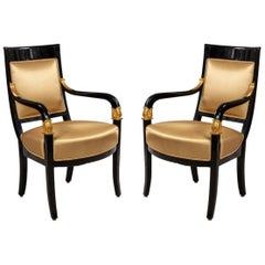 Continental Austrian Ebonized Armchairs