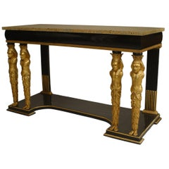 Continental Austrian Ebonized Egyptian Figural Console Table