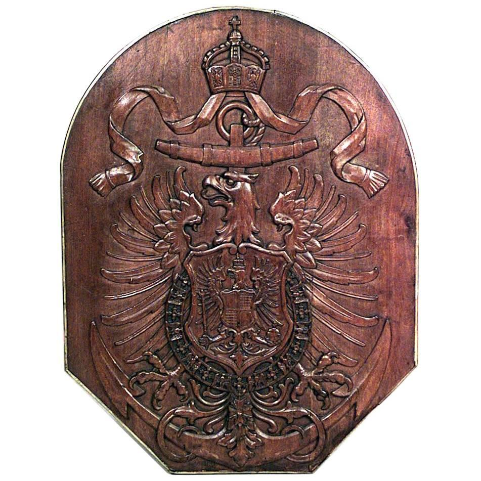 Continental Austrian Hungarian Carved Eagle Coat of Arms Wall Plaque