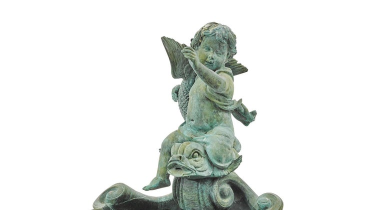 20th Century Continental Baroque Style Green Patinated Bronze Figural Fountain For Sale