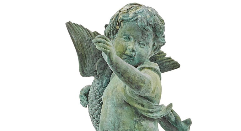 Continental Baroque Style Green Patinated Bronze Figural Fountain For Sale 1