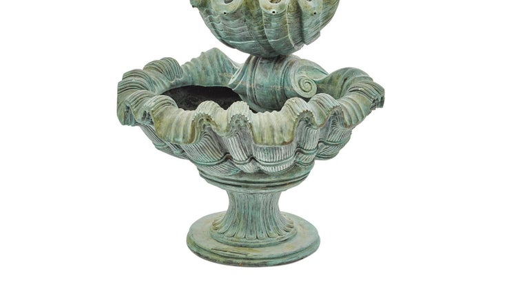 Continental Baroque Style Green Patinated Bronze Figural Fountain For Sale 3