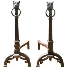 Continental Baroque Wrought Iron Lion Head Andirons