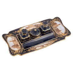 Continental Blue Ground and Gilt Porcelain Grand Tour Inkstand