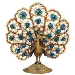 Continental Bronze Peacock Base Table Lamp