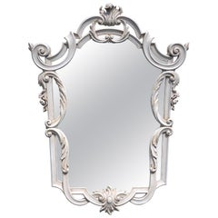 Continental Carved Neoclassical Grey Painted Shield Mirror