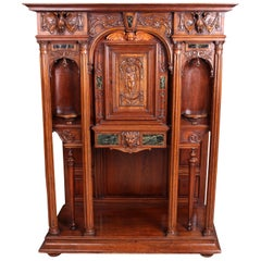 Continental Carved Walnut and Marble Ecclesiastical Cabinet, circa 1890