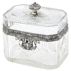 Continental Cut Glass and Silver Decorative Box, circa 1900