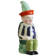 Continental Delightful Hand Painted Porcelain Mr Punch Lidded Jug