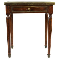 Continental Diminutive Marble Top Side Table with Drawer