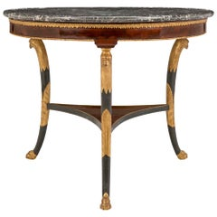 Continental Directoire Style Flamed Mahogany and Marble Center Table