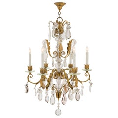 Continental Early 19th Century Louis XV Style Iron and Crystal Chandelier
