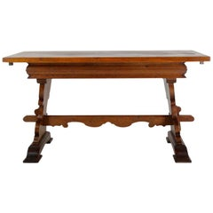 Continental European Oak Trestle Table