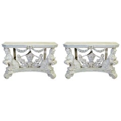 Continental Figural Rococo Cherub Putti Maiden Carved Base Console Tables, Pair