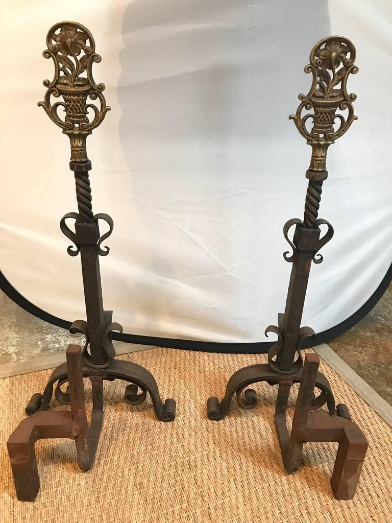 Continental Floral Andirons In Good Condition For Sale In Dallas, TX