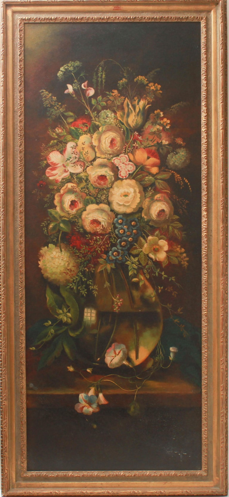 Continental manner pair of matching still life paintings depicting floral bouquets in glass vase and urn, oil on board. Made in the 20th century.  Image: 52.75