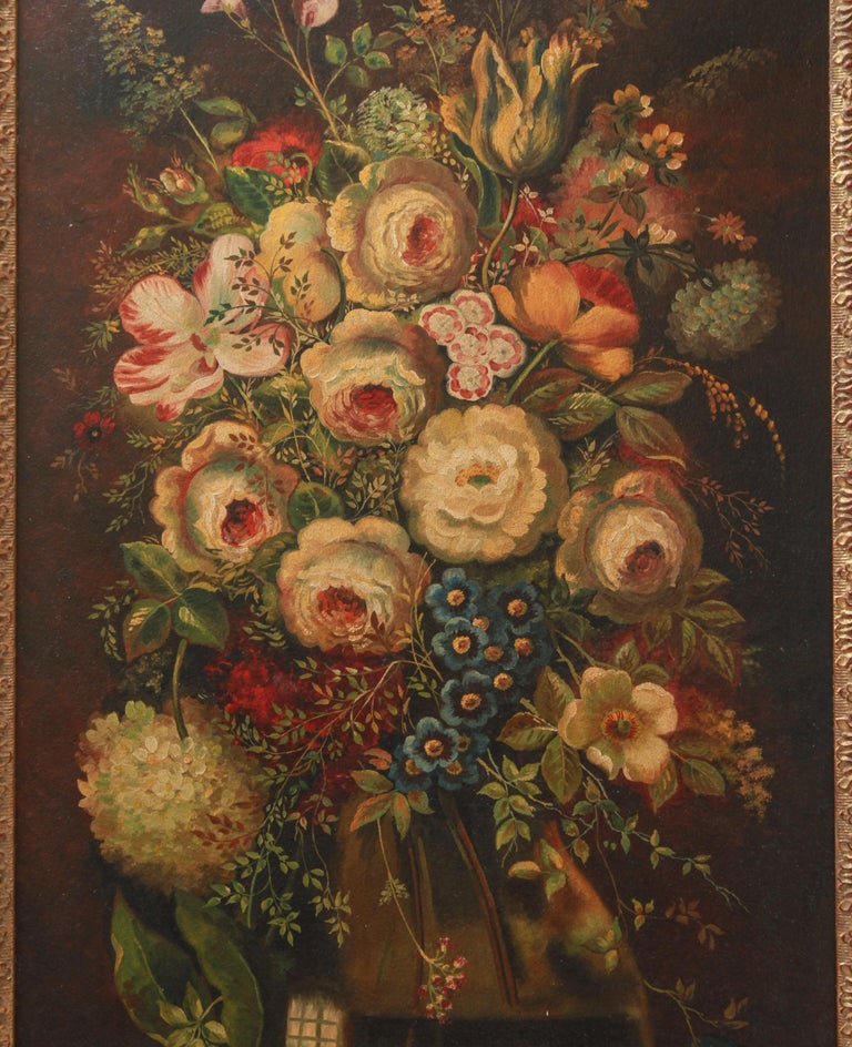 European Continental Floral Bouquet Still Life Oil on Board Paintings For Sale