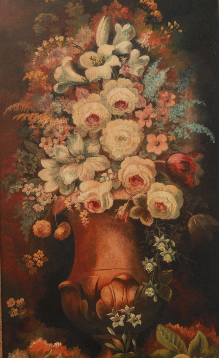 20th Century Continental Floral Bouquet Still Life Oil on Board Paintings For Sale