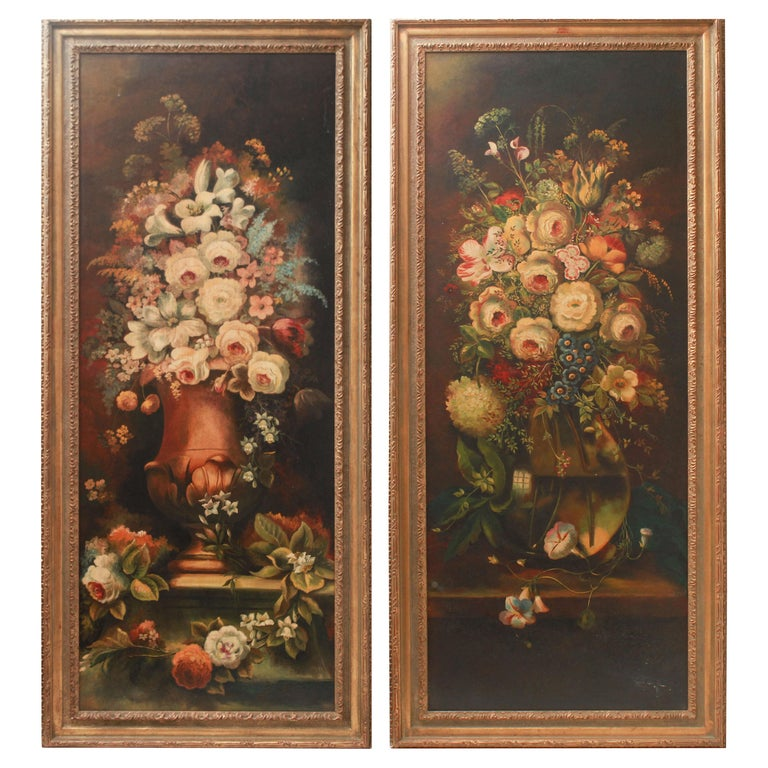 Continental Floral Bouquet Still Life Oil on Board Paintings For Sale