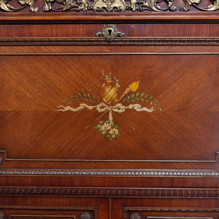 Cast Continental French Louis XV Style Hand Painted Mahogany and Ormolu Abattant For Sale