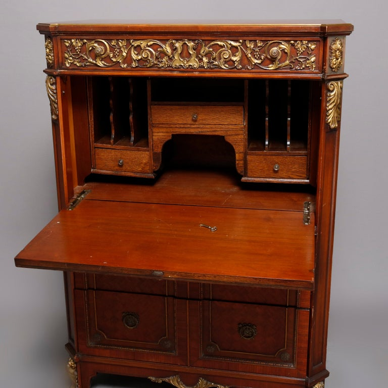 20th Century Continental French Louis XV Style Hand Painted Mahogany and Ormolu Abattant For Sale
