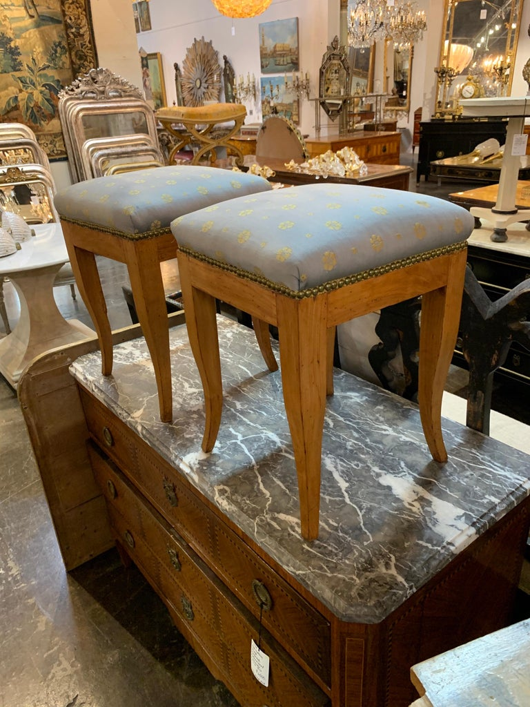 Continental Fruitwood Biedermeier Stools In Good Condition For Sale In Dallas, TX