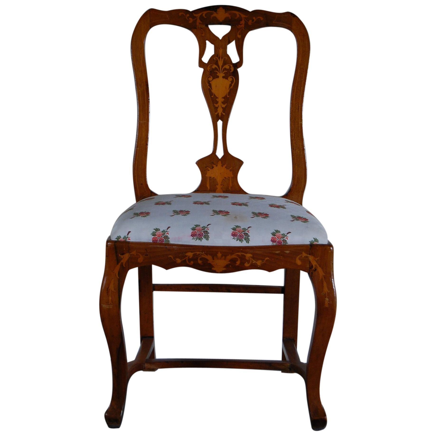 Continental Fruitwood Inlaid Side Chair, circa 1890