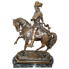 Continental Gentleman on Horseback Bronze Statue on Marble Base