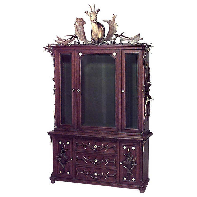Continental German 19th Century Horn and Oak Bookcase Cabinet For Sale