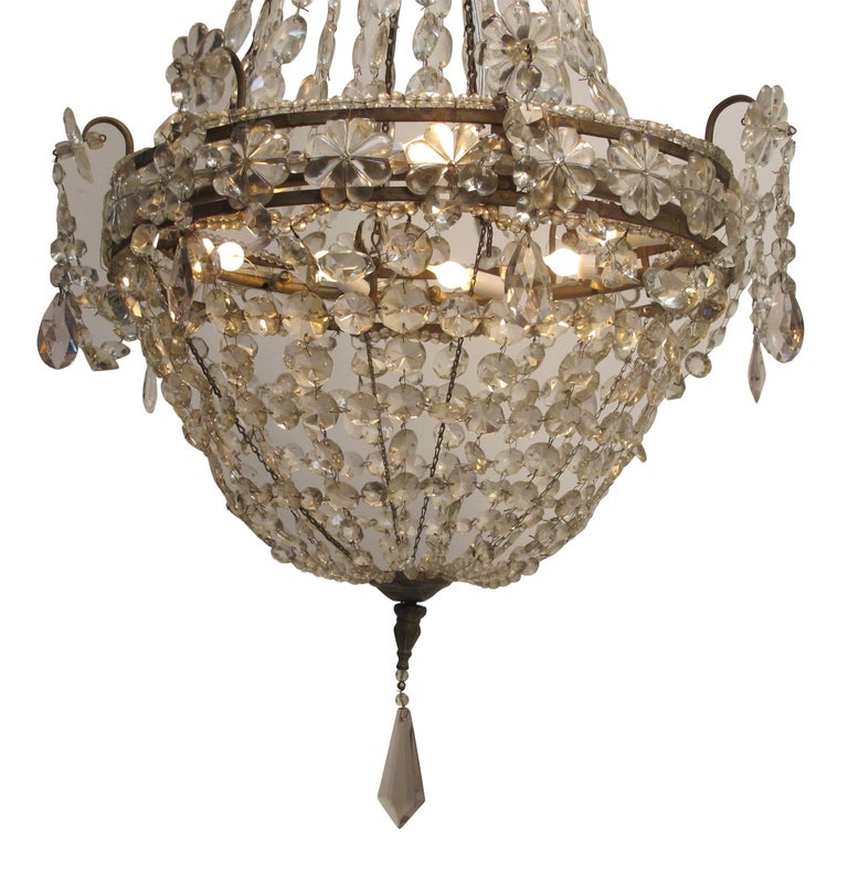 Continental Gilt Iron and Faceted Crystal Chandelier In Excellent Condition For Sale In San Francisco, CA
