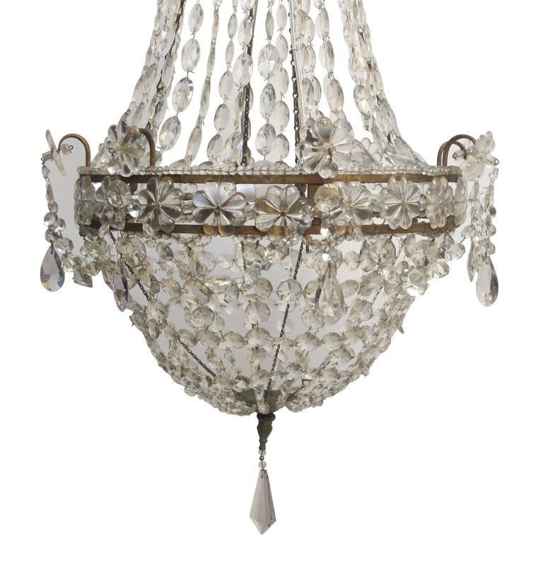 Continental Gilt Iron and Faceted Crystal Chandelier For Sale 1