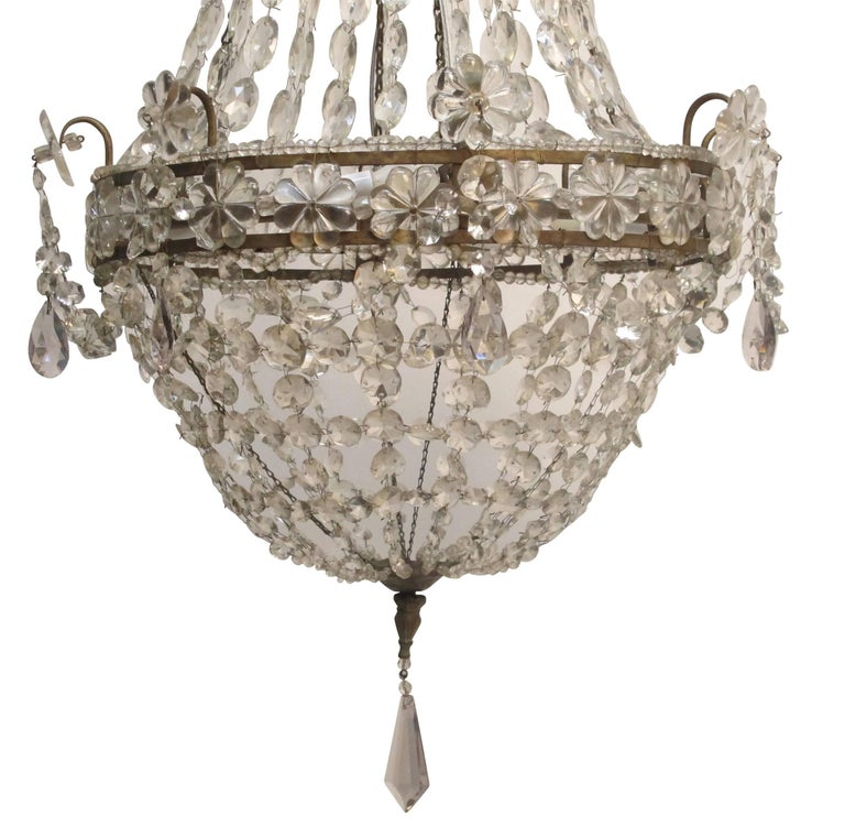 Continental Gilt Iron and Faceted Crystal Chandelier For Sale 2