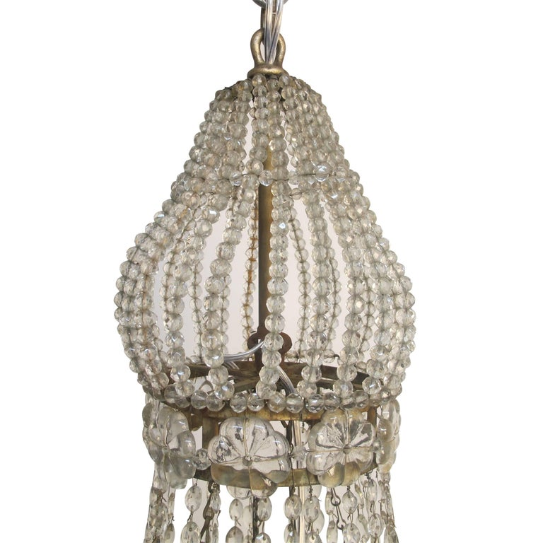 Continental Gilt Iron and Faceted Crystal Chandelier For Sale 3