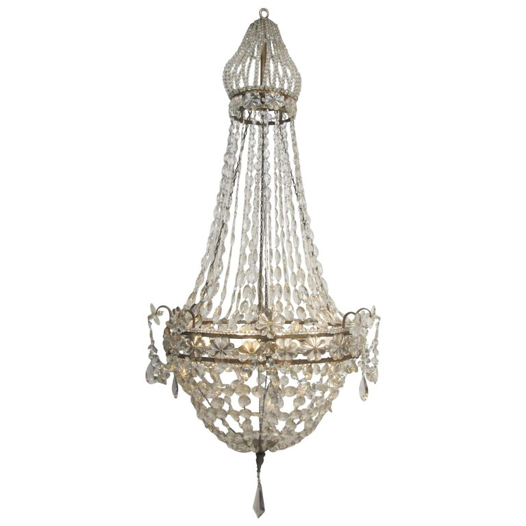 Continental Gilt Iron and Faceted Crystal Chandelier For Sale