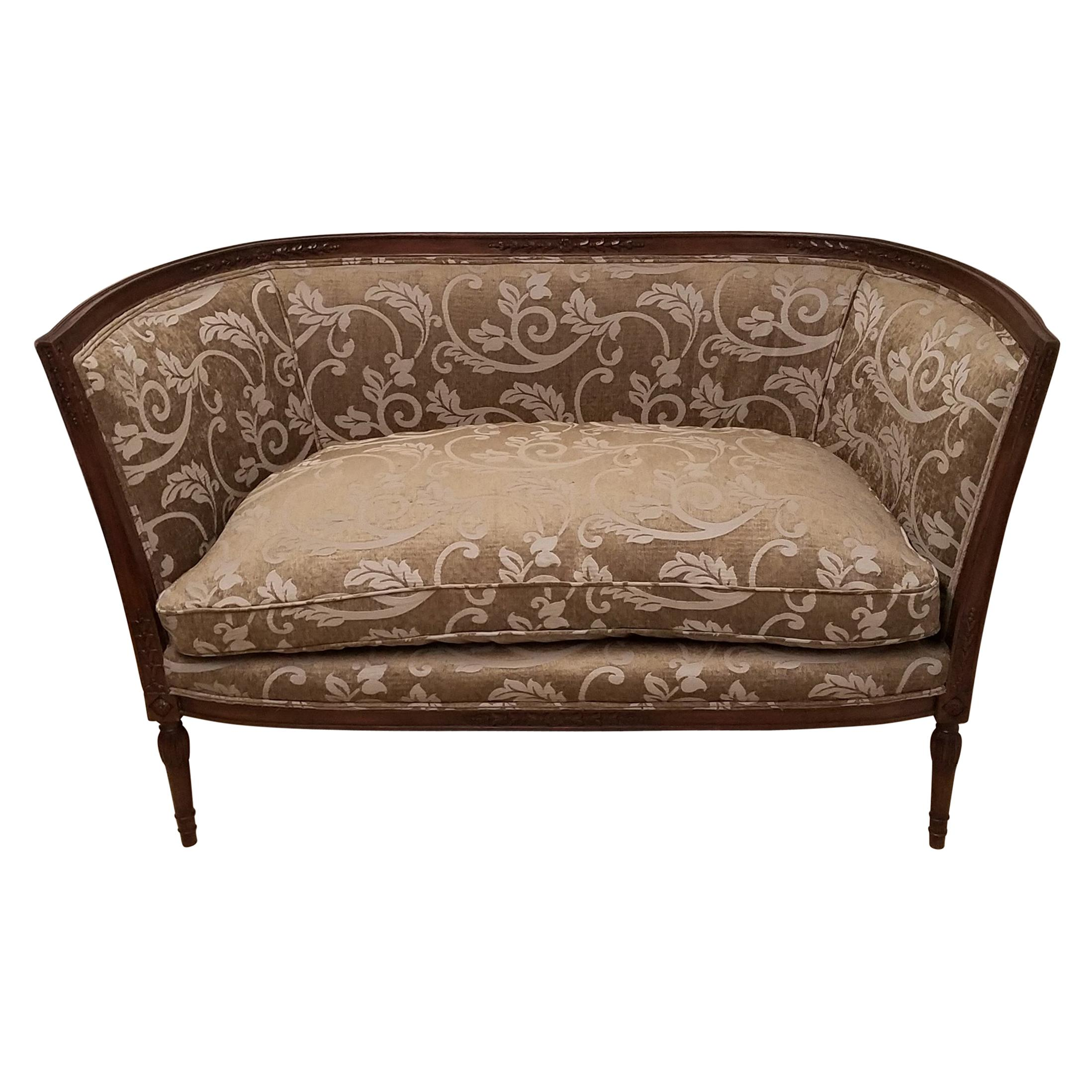 Continental Hand Carved Walnut French Style Settee