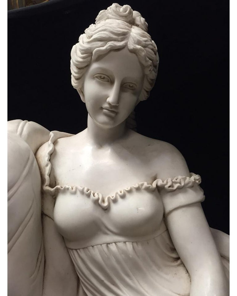Italian Continental Hand Carved White Marble Maiden For Sale