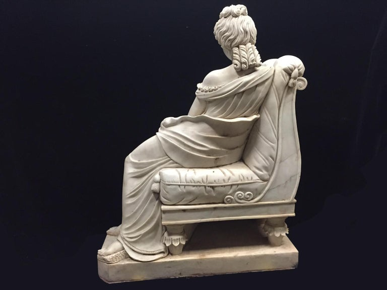 Continental Hand Carved White Marble Maiden In Good Condition For Sale In Cypress, CA