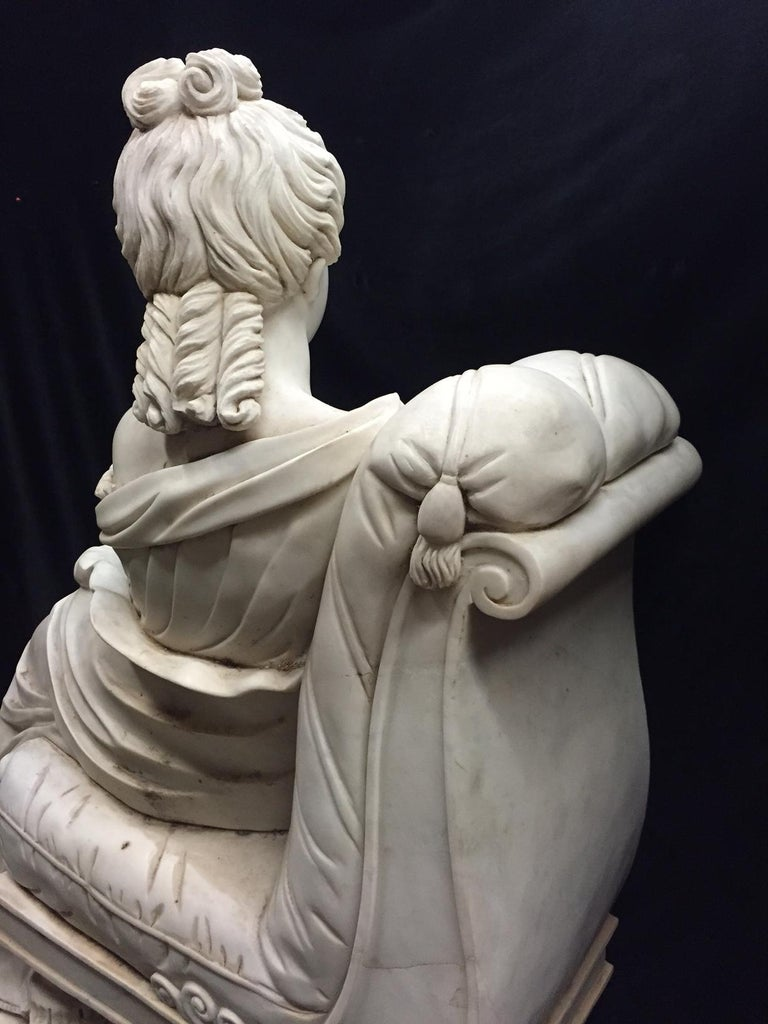 Continental Hand Carved White Marble Maiden For Sale 1