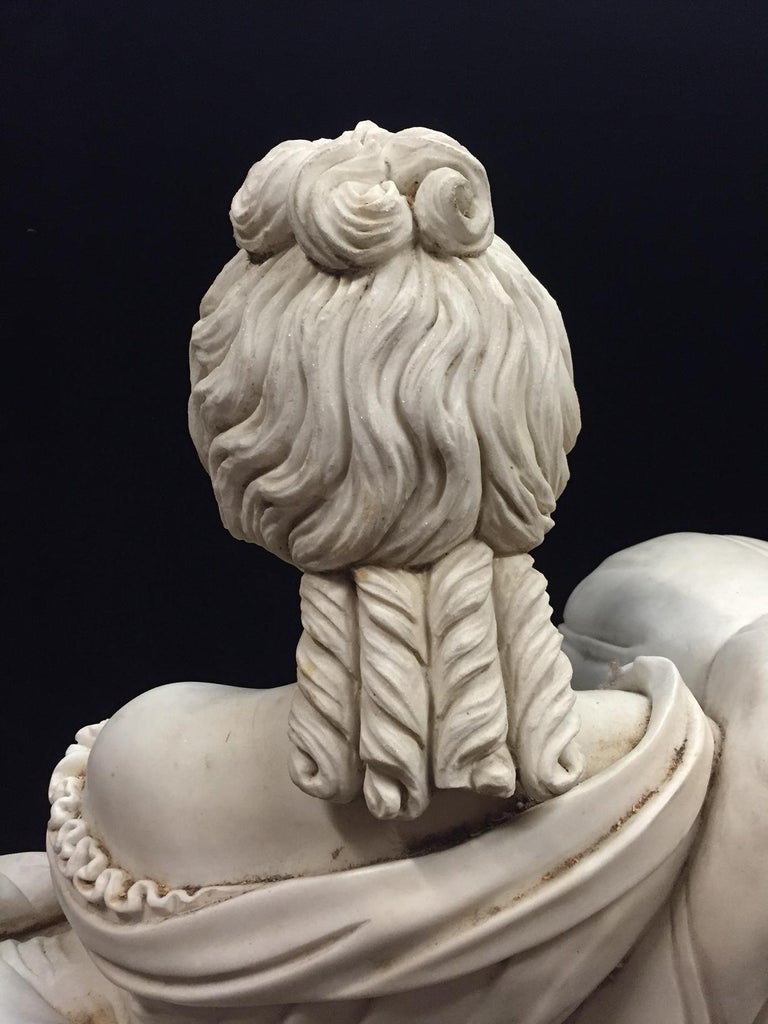 Continental Hand Carved White Marble Maiden For Sale 2