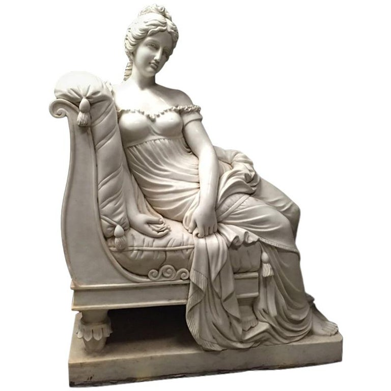 Continental Hand Carved White Marble Maiden For Sale