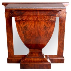 Continental Inlaid Mahogany Marble-Topped Console Table, circa 1900