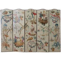 Continental Lacquered Chinoiserie Five-Panel Folding Screen
