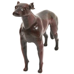 Continental Lifesize Carved Wood Dog, 19th Century